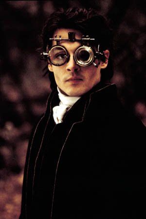 Depp's Ichabod Crane and his steampunk gadgetry.