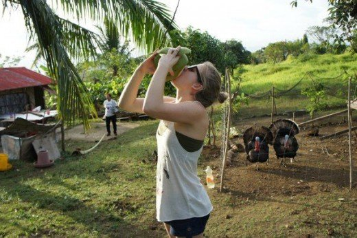 CSer Maymie drinking fresh coconut juice straight from the husk ;)