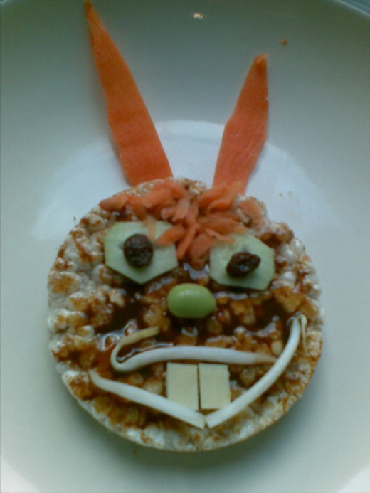 A Rice Cake Bunny.  (This latest attempt turned out slightly evil-looking!)