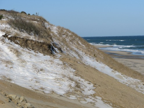 Nature has left this area of Cape Cod with constantly receding steep sand dunes, carved out by storms and tides, and narrow beaches.