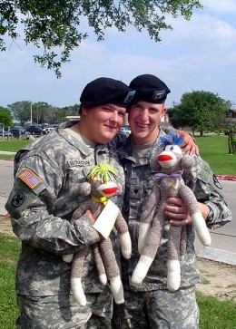 These monkeys are created by The Sock Monkey Ministries of Chelsea, Alabama. Each monkey is given to a member of the US services to show their support.