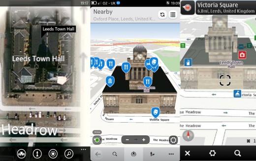 Zoom on Lumia (turns satellite view) N9, E7(3D view)