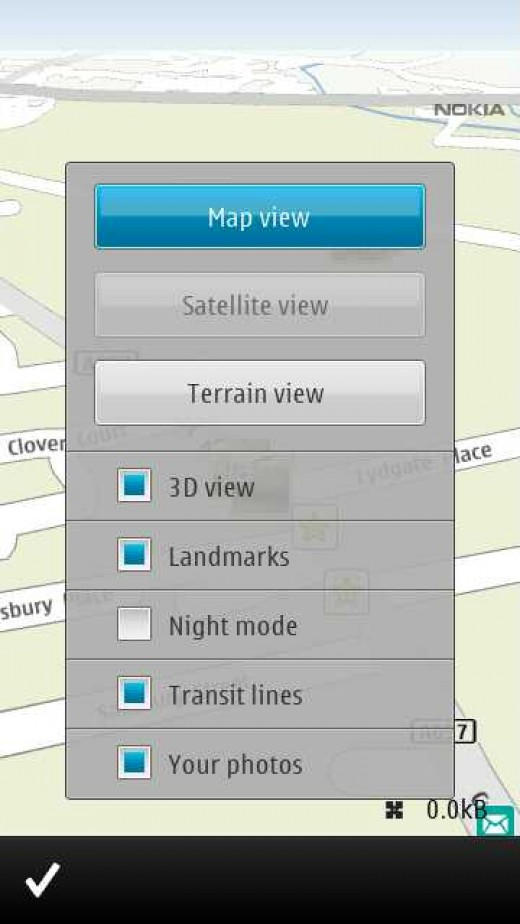 Map options on E7 with geolocated photos option