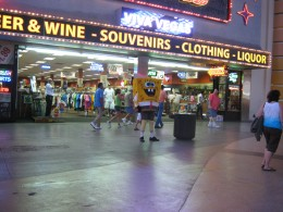 """Spongebob"" character in front of a shop on Fremont Street."