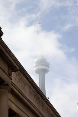Cloudy CN Tower, Union Station, Toronto