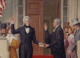 Photo of a ceiling mural in the U.S. Capitol of Andrew Jackson's Presidential Inauguration