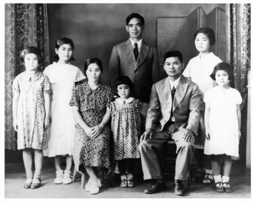 This photo was taken in the 1930s.  My mother is the youngest in the middle.  In the early 1920s, my grandparents traveled from Okinawa to Kauai which became their home.