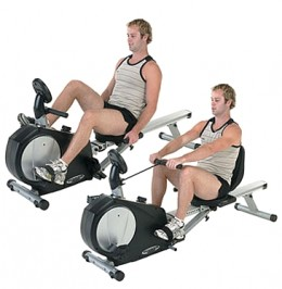 Dual exercise bike and rowing machine