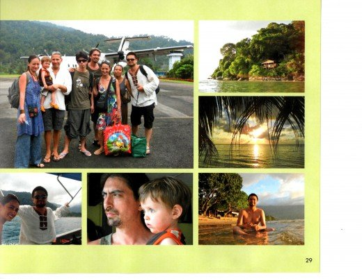 Main photo:  before boarding the little plane for  Pulau Tioman. Clockwise from R. coming in to Tioman;  sunset through the coconut leaves;  Vincent loves getting in hot water!; the two eldest of their generations, Ben and Ronan; Jasmine and Vincent.