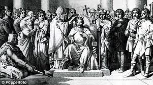 King Harold's coronation by Archbishop Ealdred of York in early January, 1066