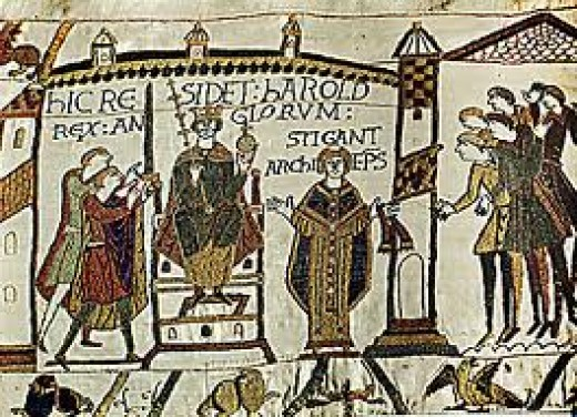 The same scene depicted on the Bayeux Tapestry