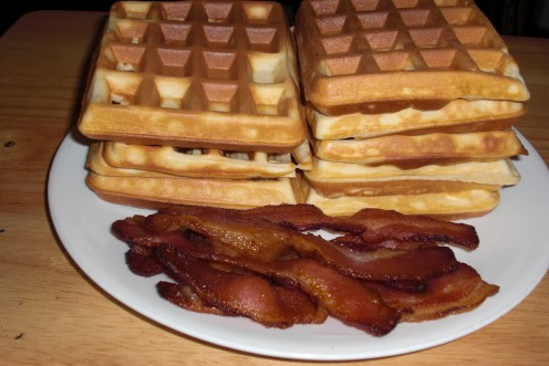 Here is my homemade Belgian waffles with oven baked bacon.  I like to butter the waffles, top with hot syrup and fresh fruit.