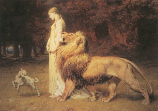 """Una and the Lion (Book I) from """"The Faerie Queene"""" illustrations."""