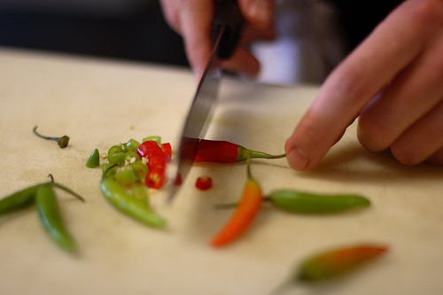 Cutting various Thai Chilies