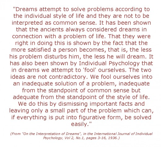 a quote from Alfred Alder explaining the purpose of dreams as they relate to solving problems.
