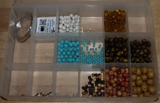 It is recommended that beads of your choice be stored in plastic boxes such as the one pictured here.