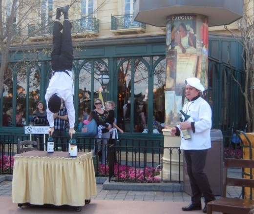 Epcot's World Showcase offers international surprises, such as these French waiter-acrobats.