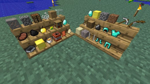 An example of the shelves that this mod allows you to build.