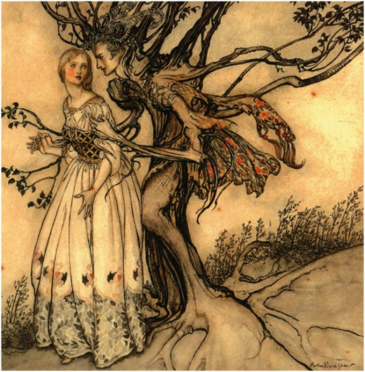 Arthur Rackham fairy tale illustration, image in Public Domain.