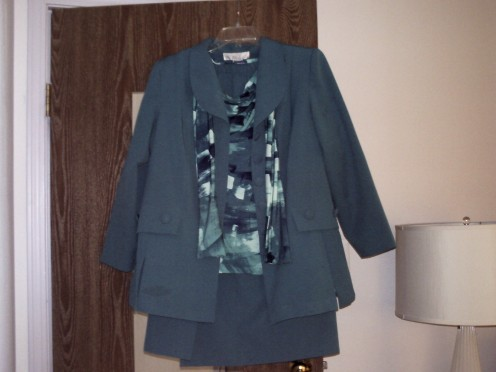 Another suit out of poly poplin and one of the sets that match it. These blouses look great with jeans and slacks and simple solid color knit cardigans.