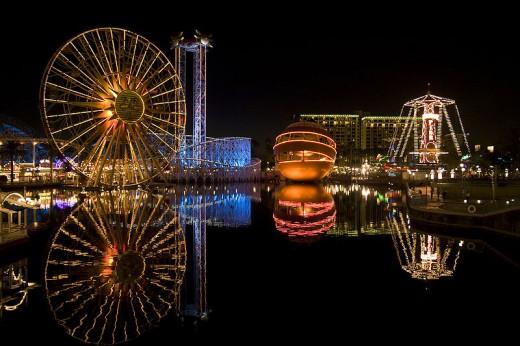 Disney's California Adventure at night.