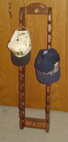 Double baseball cap holder I made for my grandson