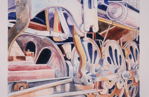 "Wheels of Progress, Watercolor 11x14"" Sold as a result of media exposure"