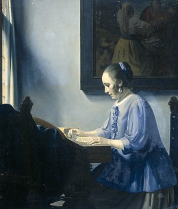 """Woman Reading Music"" by van Meegeren which was inspired by Jan Vermeer's ""Woman in Blue Reading a Letter"""