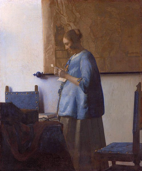 """""""Woman in Blue Reading a Letter"""" a Jan Vermeer original"""