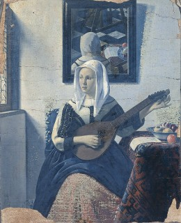 """Woman Playing Music"" by van Meegeren which was inspired by ""Woman with a Lute Near a Window"""