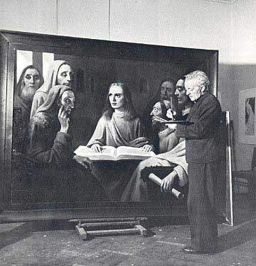 """""""Jesus Among The Doctors"""" is van Meegeren's last forgery.  This is the work that had proved his innocence as a Nazi collaborator and plunderer but had exposed his guilt as a forge"""