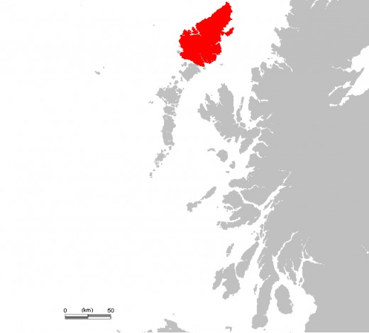 Isle of Lewis, highlighted in red.