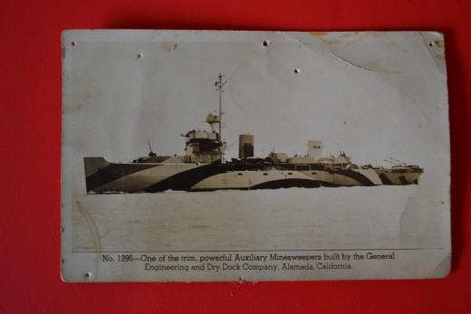 Postcard of Minesweeper- not the USS Defense but same class built in Alameda, California