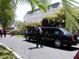 The presidential limousine, pictured here outside the presidential palace in San Salvador in 2002, is flown to the president's destination in a separate Air Force cargo plane.