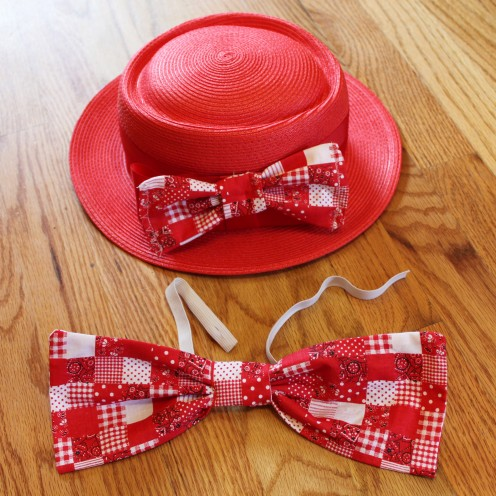 I've made two bows-one for the hat and another to put on a dress shirt.  In about an hour time, we had the whole outfit ready to go.