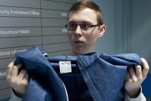 while killer Ben looks calm and collected as he prepares his clothes for forensics