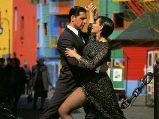 Couple dancing Tango in the famous Caminito Street
