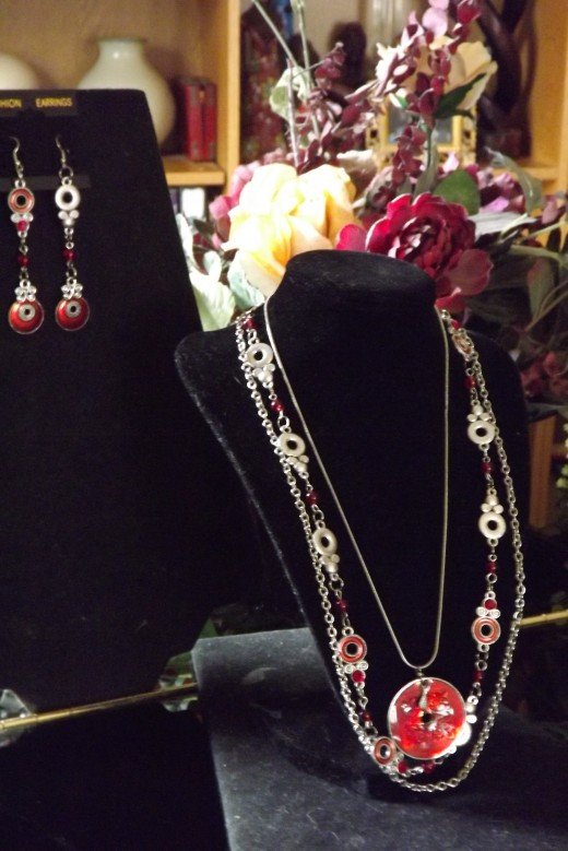 Designs by Chae - Red Necklace and Earrings