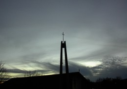 The Cross on the top of St Rose Catholic Church in Paso Robles