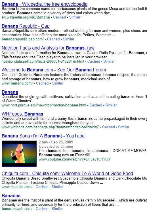 "Results from a PageWash Google search of the keyword ""banana"""