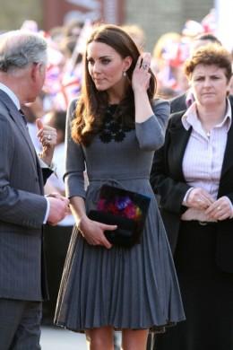 Wearing an Orla Kiely dress for Dulwich Gallery