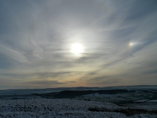 Sundog seen from Pendle Hill near Sabden, looking South