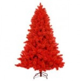 A 7.5 Foot Pre-Lit Red Cashmere Artifical Christmas Tree