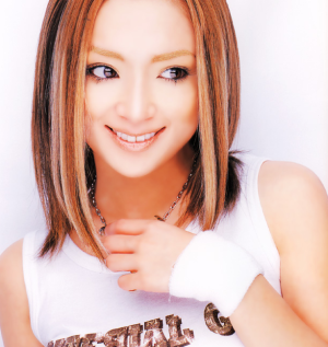 "Ayu posing in the June, 2002 issue of ""CD HITS"" Magazine."