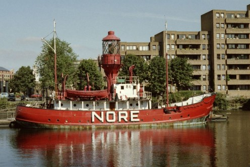 Nore is the place where first known light ship was used. A lightship is can bee seen on Nore in Saint Katharine Docks, London, UK, to prove its historical importance. Picture was taken in 1988.