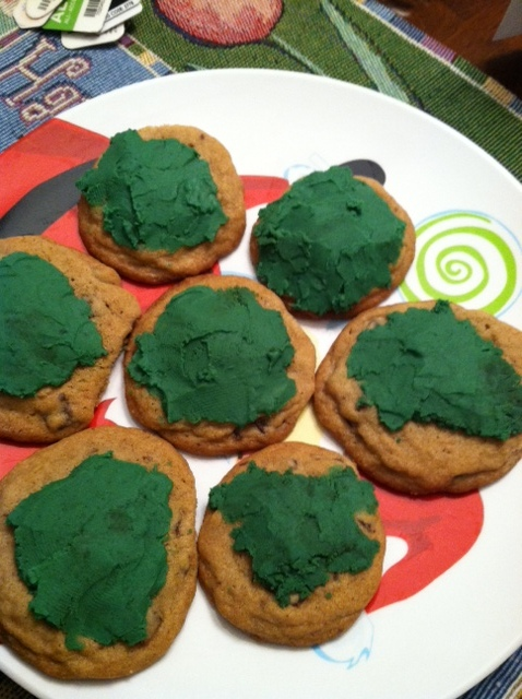 Green frosted cookies.