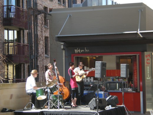 "Jazz band playing at ""The Rocks"" (Old Sydney), open air concert, Sydney Australia. From the Australia Pictures Series by Claudia Tello."