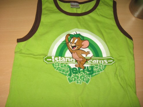 My toddler green singlet with Jerry Mouse print