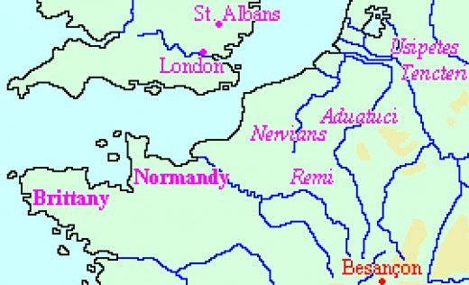 A map of northern France and southern Britain with the location of various tribes.