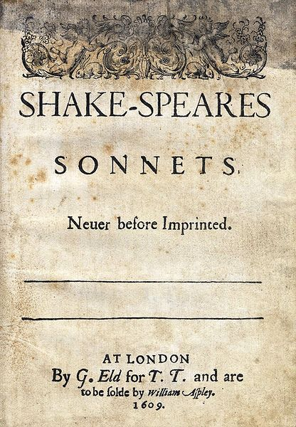 The title page for the quarto of Shakespeare's Sonnets published in 1609.